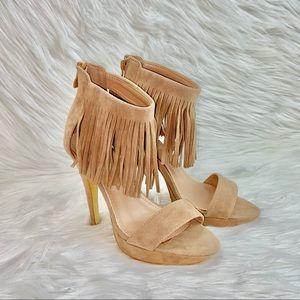 Herstyle Fringes Nude Heels Sandals Spring